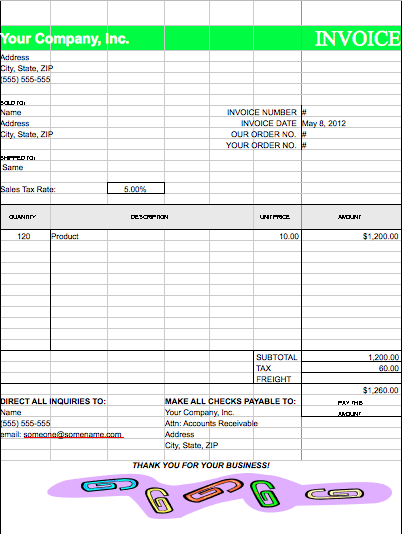 green-invoice-template