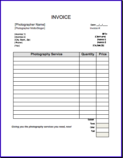 invoice template free photography invoice