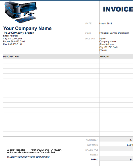Invoice Template Free Computer Invoice Template